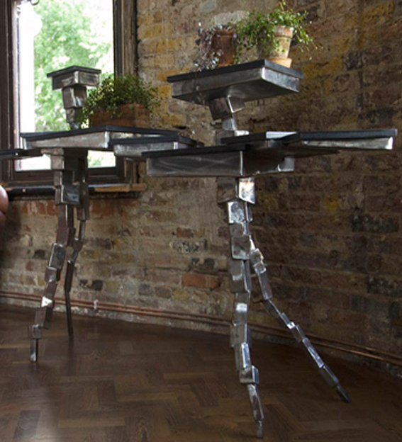 metal rickety console table