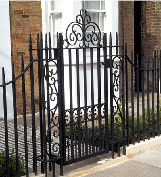 ornamental metal gate and railing
