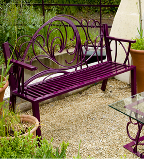 ornate garden metal bench